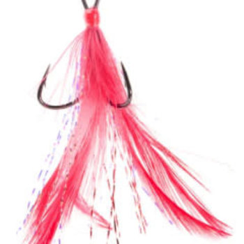 Mustad Feathered Treble Size 2 Red 2-pk
