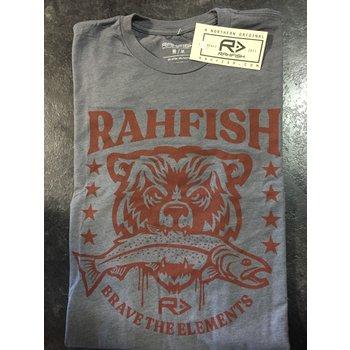 """RahFish Rahfish """"Brave the Elements"""" Short Sleeve T-Shirt Grey L"""
