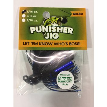 Punisher Jigs Micro jig with Mustand Ultra point hook BLK/BLUE 5/16