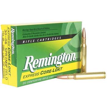 Remington R30062, 30-06 Springfield, Core-Lokt Pointed Soft Point (SP), 150 GR, 2660 fps, 20 Rd/bx Rifle Ammunition