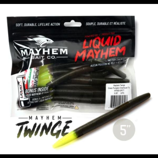 "Mayhem Twinge 5"" Green Pumpkin Chartreuse 8-pk"