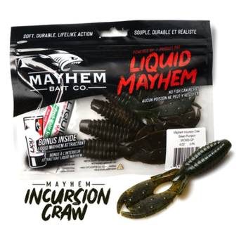"""Mayhem Incursion Craw 4"""" Green Pumpkin 5-pk"""