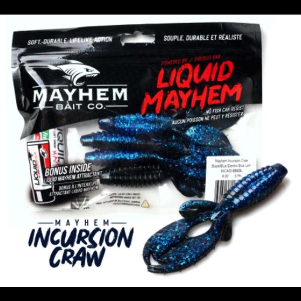 "Mayhem Incursion Craw 4"" Black/Blue Electric Blue Laminate 5-pk"