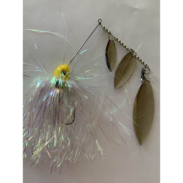 B&N Custom Triple Shad Spinnerbait Pearl Lemonhead Nickel Blades