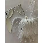 B&N Custom Triple Shad Spinnerbait White Pearl White Blades