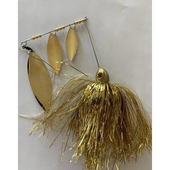 B&N Custom Triple Shad Spinnerbait Gold/Gold Blades