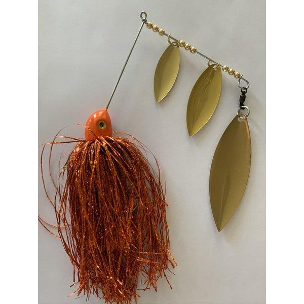 B&N Custom Triple Shad Spinnerbait Orange/ Brass Blades