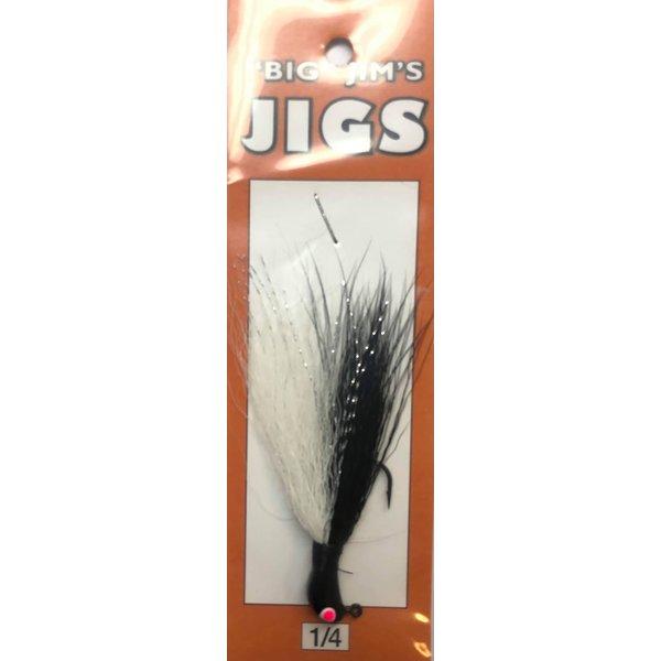 Big Jim's Bucktail Jig. 1/4oz 004 Black Back White Gut