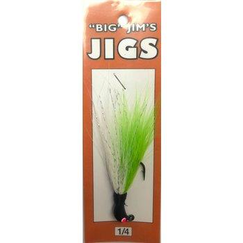 Big Jim's Bucktail Jig. 1/4oz 007 Neon Green White Gut