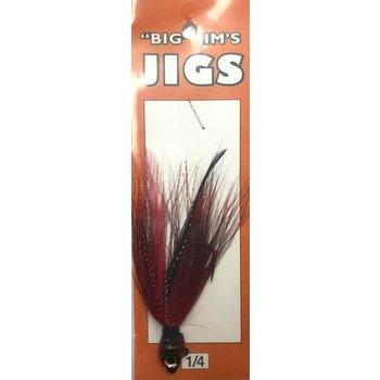 Big Jim's Bucktail Jig. 1/4oz 014 Natural Red