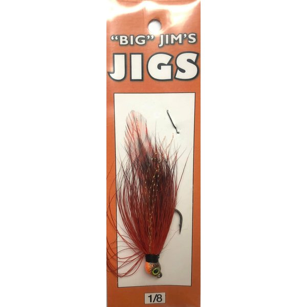 Big Jim's Bucktail Jig. 1/8oz 027 Natural Red Orange