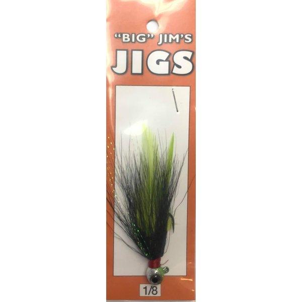 Big Jim's Bucktail Jig. 1/8oz 032 Black Chart Feather