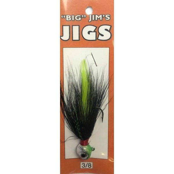 Big Jim's Bucktail Jig. 3/8oz 032 Black Chart Feather