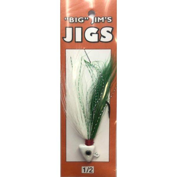 Big Jim's Bucktail Jig. 1/2oz 039 Green White Gut