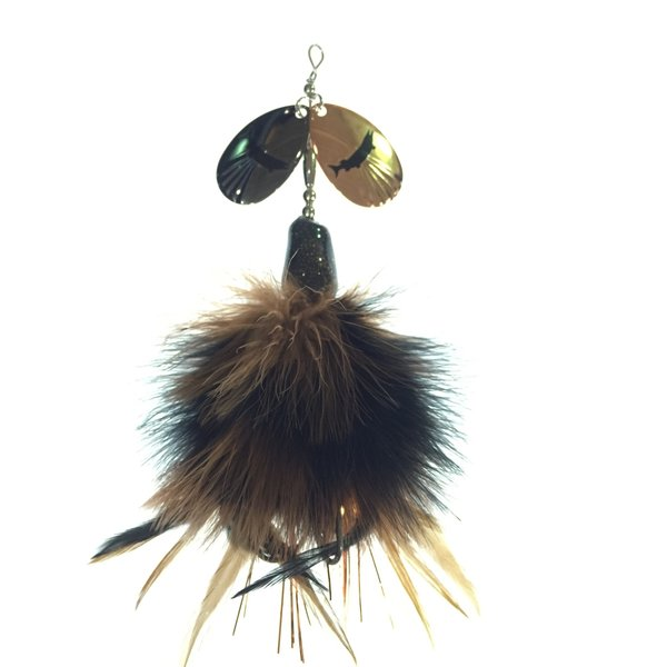 """J.H. Bait Muskey Lures """"Mini"""" Brown Black with Dark Nickle/Gold Blades"""