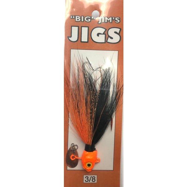 Big Jim's Spin Belly Bucktail Jig. 3/8oz 002 Black Orange