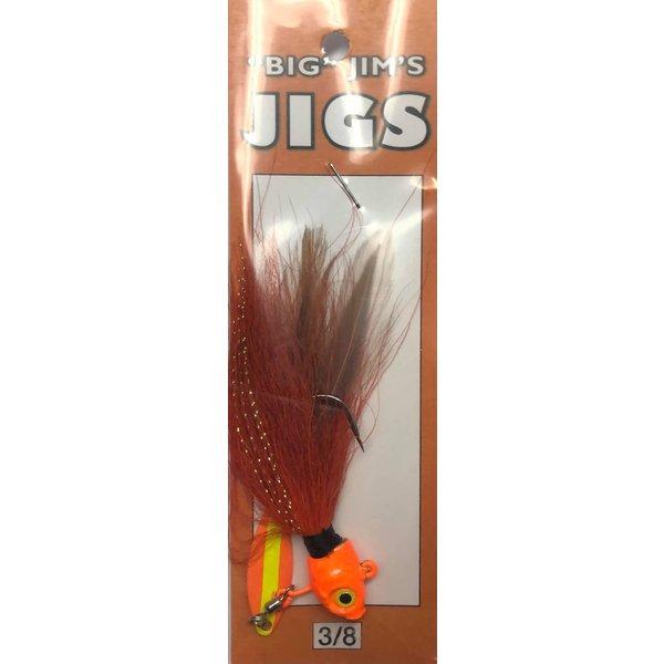 Big Jim's Spin Belly Bucktail Jig. 3/8oz 003 Red Orange