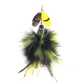 """J.H. Bait Muskey Lures """"Mini"""" Black Chart with Chart Silver Blades"""
