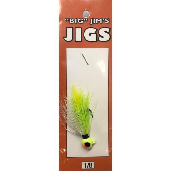 Big Jim's Panfish Bucktail Jig. 1/8oz 001 Chartreuse White