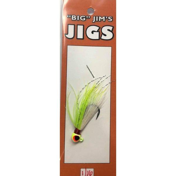 Big Jim's Panfish Bucktail Jig. 1/16oz 001 Chartreuse White