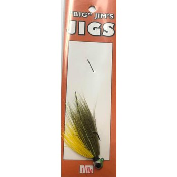 Big Jim's Panfish Bucktail Jig. 1/16oz 007 Olive Yellow