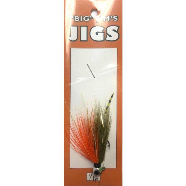 Big Jim's Panfish Bucktail Jig. 1/16oz 010 Olive Orange