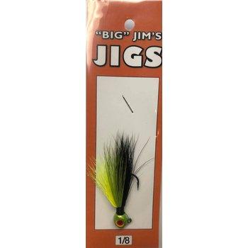 Big Jim's Panfish Bucktail Jig. 1/8oz 015 Black Yellow Olive Gut