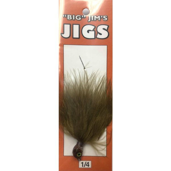Big Jim's Marabou Jig. 1/4oz 003 Olive Brown Head