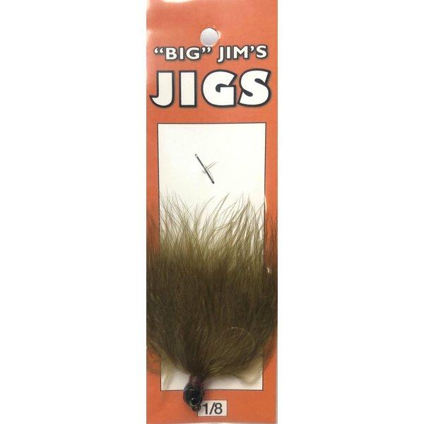 Big Jim's Marabou Jig. 1/8oz 004 Olive Dk Green Head