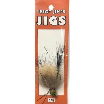 Big Jim's Marabou Jig. 1/4oz 009 Tan Blk/Green