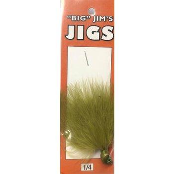 Big Jim's Marabou Jig. 1/4oz 010 Green Olive Solid