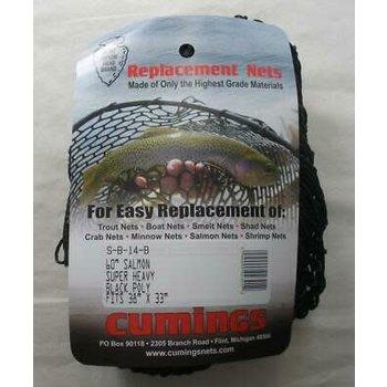 "Cumings Replacement Fishing Net 60"" Salmon Super Heavy Black Poly S-B-14-B 38x33"