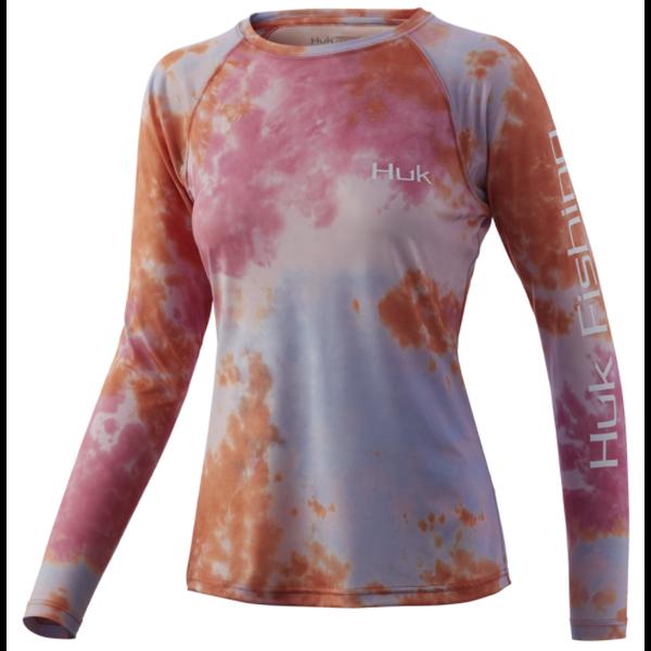 Huk Womens Tie-Dye Pursuit L Fusion Coral