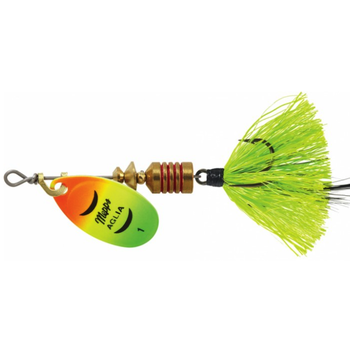 Mepps Aglia Dressed Size 1 1/8oz Fire Tiger/Chart Blk Feather