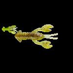 "Grumpy Bait Crawdaddie 2.5"" Natural Goby/Chartreuse 6-pk"
