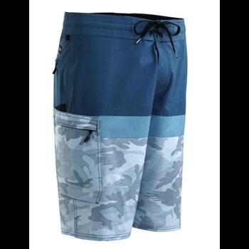 Pelagic Blue Water Shorts. Fish Camo Stacked