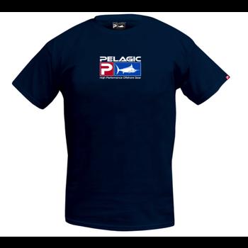 Pelagic Deluxe Logo Classic Tee. Navy