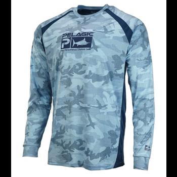 Pelagic Vaportek LS Fishing Shirt. Fish Camo Slate