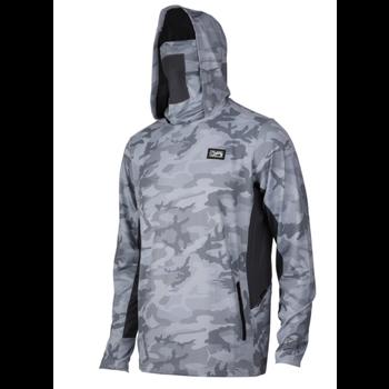 Pelagic Exo-Tech Hooded Fishing Shirt. Fish Camo Grey