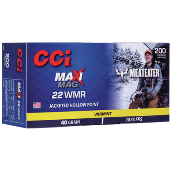 CCI Meat Eater Maxi-Mag Rimfire Ammunition 958ME, 22 Magnum (WMR), Jacketed Hollow Point (JHP), 40 GR, 1875 fps, 200 Rd/bx