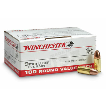 Winchester Winchester USA 9mm 115 Gr FMJ 100 Round Value Pack