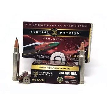 Federal P338TC1 Premium Trophy Copper Rifle Ammo 338 WIN MAG, T-Copper, 225 Grains, 2800 fps, 20, Boxed