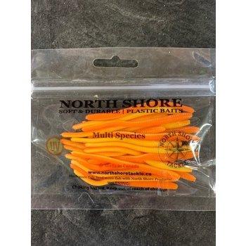 """North Shore e Tackle Trout Worm's 3"""" Pumpkin Orange"""