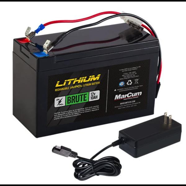 MarCum Lithium 12V 10Ah Brute Battery Kit. Life PO4