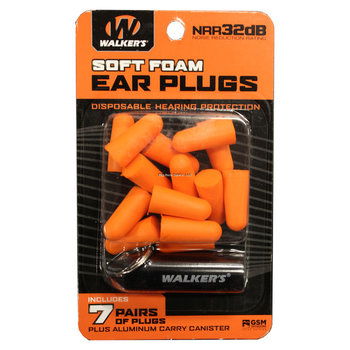 Walkers GWP-PLGCAN-OR 7 Pairs Neon Orange Foam Plug W/ Black Aluminum Carry Canister