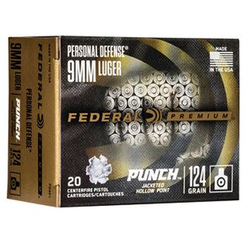Federal Premium Punch 9mm Luger Ammunition 20 Round Box 124 Grain JHP Projectile 1150 fps