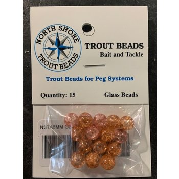 North Shore Tackle Glass Beads 8mm Glass Peach Crackle