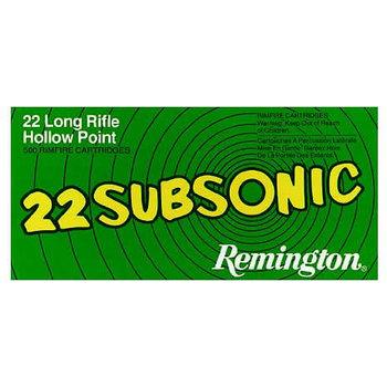 Remington Subsonic Rimfire Ammunition SUB22HP, 22 Long Rifle, Hollow Point (HP), 38 GR, 1050 fps, 50 Rd/bx