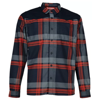 Simms Black's Ford Flannel LS, Admiral Blue Plaid,  Large