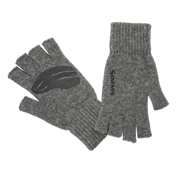 Simms Wool Half Finger Mitt, Steel.